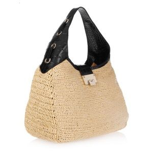 "Jimmy Choo ""Rajah"" raffia & leather hobo bag"